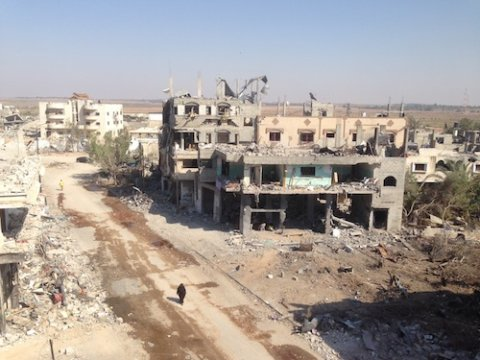 Bombed-out remnants of Shujaiya after Israeli bombing. Photo by Max Blumenthal.