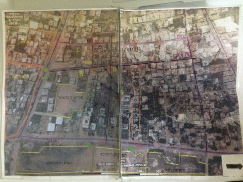 A map of Israeli army operations discovered in a destroyed home in Shujaiya. Photo by Max Blumenthal.