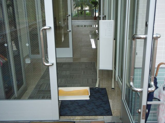 Public Building Entrance with Wet Disinfectant Towels for Shoe Soles