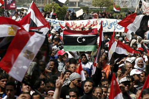 Libyan flag in Tahrir Square